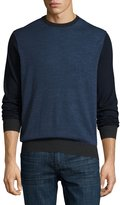 Neiman Marcus Wool Crewneck Pullover Sweater, Eclipse