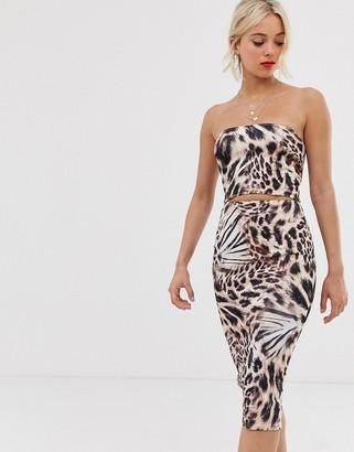 True Violet leopard print bandeau dress with cut out-Multi