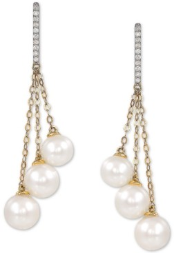 Honora Cultured Freshwater Pearl (6-7-1/2mm) & Diamond (1/10 ct. t.w.) Drop Earrings in 14k Gold