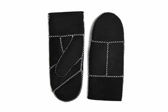 YISEVEN Women Rugged Sheepskin Shearling Mitten Herringbone Leather Gloves Sherpa Furry Cuff Thick Wool Lined Heated Warm for Winter Cold Weather Dress Driving gift