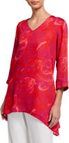 Caroline Rose Plus Size Cha Cha Print V-Neck 3/4-Sleeve Party Top