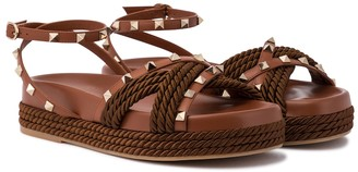 Valentino Rockstud Torchon espadrille sandals