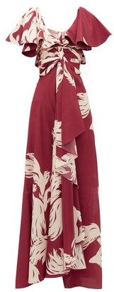 Johanna Ortiz Intensa Sutileza Fish-print Silk Maxi Dress - Womens - Red Multi