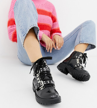 Truffle Collection Wide Fit Chunky Ankle Boots-Black