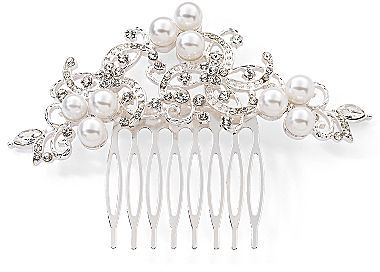 JCPenney Silver-Tone Clear Crystal Floral Swirl Hair Comb