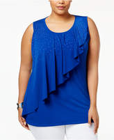 Belldini Plus Size Embellished Asymmetrical-Overlay Top