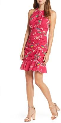 Eliza J Floral Ruched Ruffle Minidress