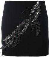 Versus 'leaves' embellished fitted skirt