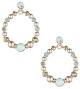 Carolee Turquoise Sands Faux Pearl Beaded Gypsy Hoop Earrings