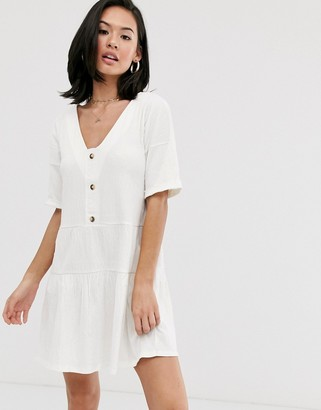 Asos Design DESIGN textured button through smock dress with tiered skirt-White