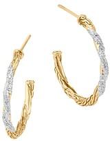 John Hardy Classic Chain 18K Gold Diamond Pave Small Hoop Earrings