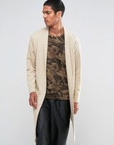 Asos Longline Waterfall Jersey Cardigan In Beige
