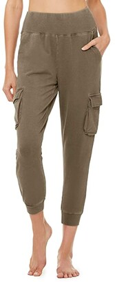 Alo Washed 7/8 High-Waist Cargo Sweatpants (Olive Branch Wash) Women's Casual Pants