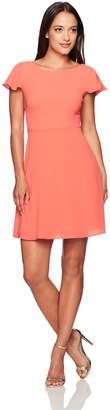 London Times Women's Crepe Dress with Shoulder Ruffles