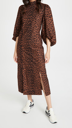 Ganni Printed Cotton Poplin Mockneck Dress
