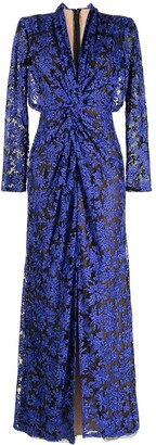 Tadashi Shoji Floral-Embroidered Long-Sleeve Dress