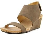 Adrienne Vittadini Transe Open Toe Synthetic Wedge Sandal.