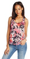 Buffalo David Bitton Women's Printed-Airy Printed Jersey Tank with Back Lace Detail