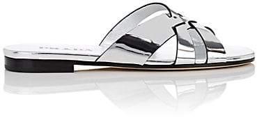 Prada Women's Metallic Leather Slide Sandals - Silver