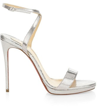 Christian Louboutin Loubi Queen Metallic Lizard-Embossed Leather Sandals