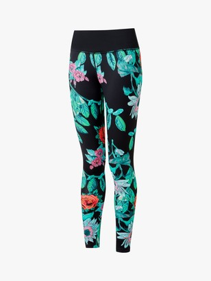 Ronhill Life Running Leggings, Black/Multi Gothic Floral