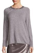 Halston Merino Wool & Cashmere Metallic Trim Sweater
