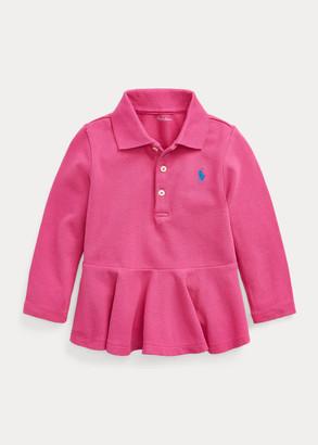 Ralph Lauren Peplum Pique Long-Sleeve Polo