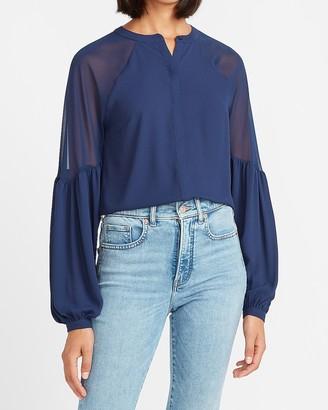 Express Chiffon Sheer Pieced Shirt