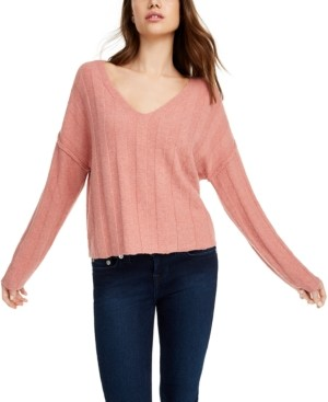 PINK ROSE Juniors' Ribbed Raw-Hem Sweater