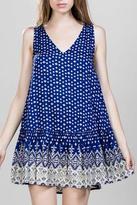 En Creme Blue Printed Dress