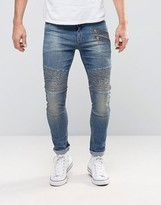 Asos Super Skinny Jeans With Double Zip And Biker Details In Mid Blue Wash