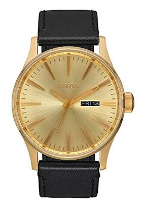 Nixon Sentry Leather A105510-00. Gold and Black Men's Watch (42mm All Gold Watch Face/ 23mm All Black Leather Band)