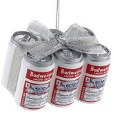 Kurt Adler Budweiser Vintage Six-pack Cans With Bow Ornament
