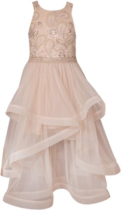 Iris & Ivy Embroidered & Tiered Gown