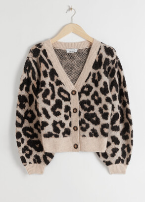 And other stories Leopard Puff Sleeve Wool Blend Cardigan