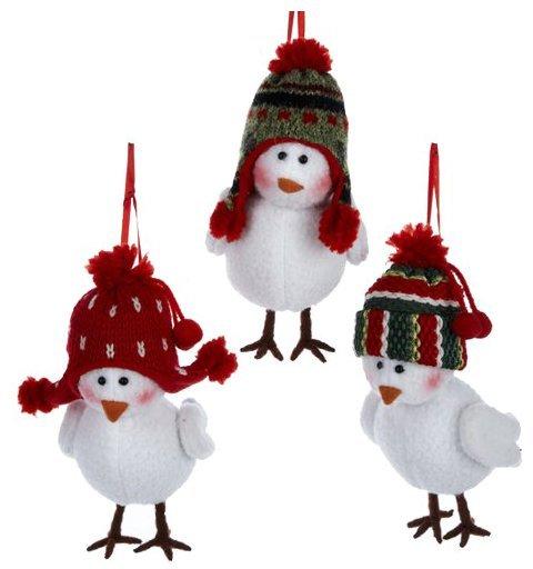 """Kurt Adler Fabric Bird w/ Red & Green Hat Ornament, 6"""" (Set of 3)"""