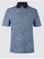 M&S Collection Cotton Rich Textured Polo Shirt
