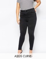 Asos Ridley High Waisted Skinny Jean in Washed Black