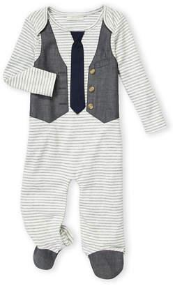 Miniclasix Newborn Boys) Striped Vested Footie