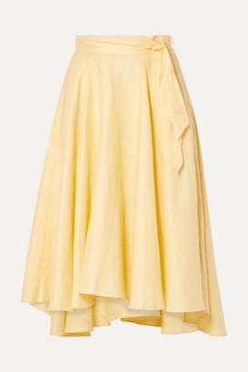 Miguelina Gale Linen Midi Skirt - Pastel yellow