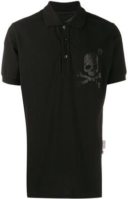 Philipp Plein crystal skull polo shirt