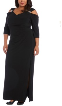 R & M Richards Plus Size Embellished Cold-Shoulder Gown