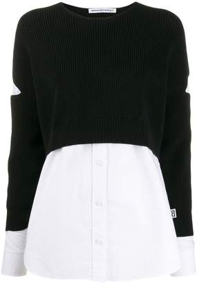 Alexander Wang contrast long-sleeve jumper