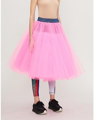 Junya Watanabe High-waisted denim and tulle skirt
