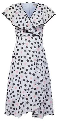Dorothy Perkins Womens Billie & Blossom Grey Ruffle Spot Print Petite Midi Skater Dress, Grey
