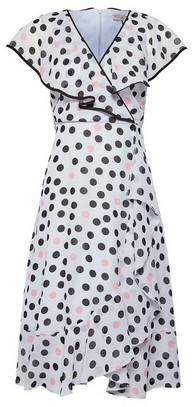 Dorothy Perkins Womens Billie & Blossom Grey Ruffle Spot Print Petite Midi Skater Dress, Grey