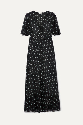Rixo Zhandra Floral-print Silk Crepe De Chine Midi Dress - Black