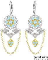 .925 Sterling Silver with 24K Yellow Gold Plated over .925 Sterling Silver Flower Earrings Designed by Lucia Costin with Flower Elements, Ornate with Cute Charm and Swarovski Crystals and Suspended Chains; Handmade in USA