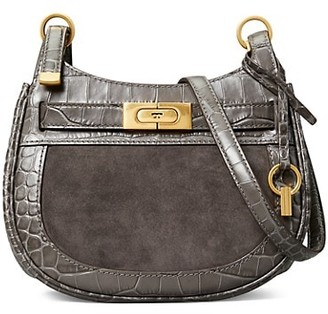 Tory Burch Small Lee Radziwill Croc-Embossed Leather & Suede Saddle Bag