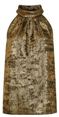 Dorothy Perkins Womens Gold Velvet Halter Neck Top, Gold